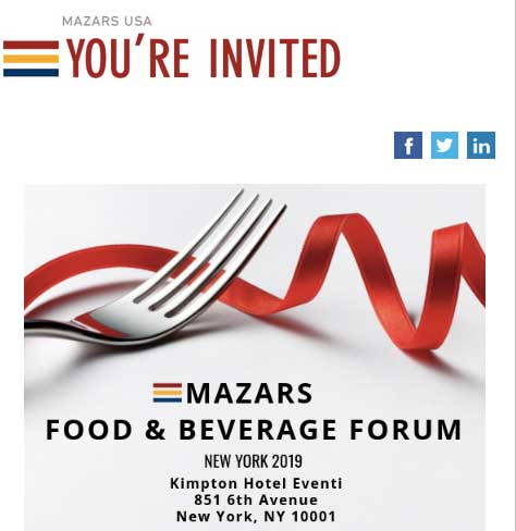 Mazars Food & Beverage Event flyer