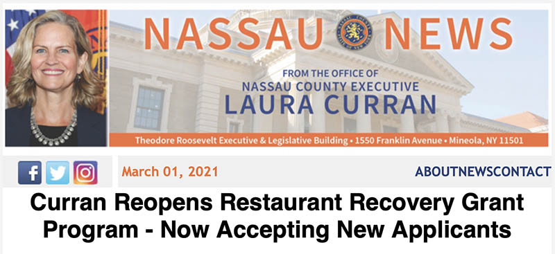Curran Reopens Restaurant Recovery grant flyer