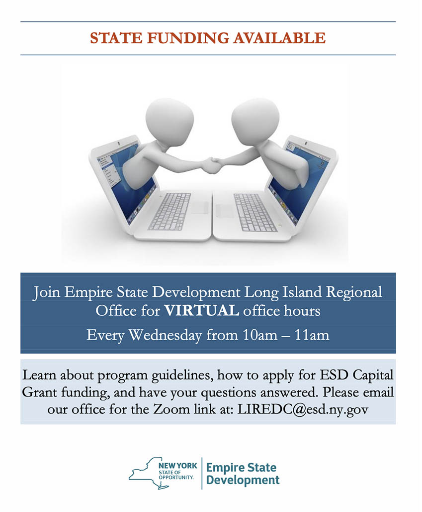 Empire State Development Virtual Meeting hours flyer
